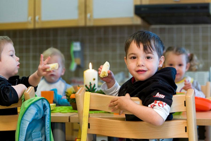 Vesperpause im Kindergarten